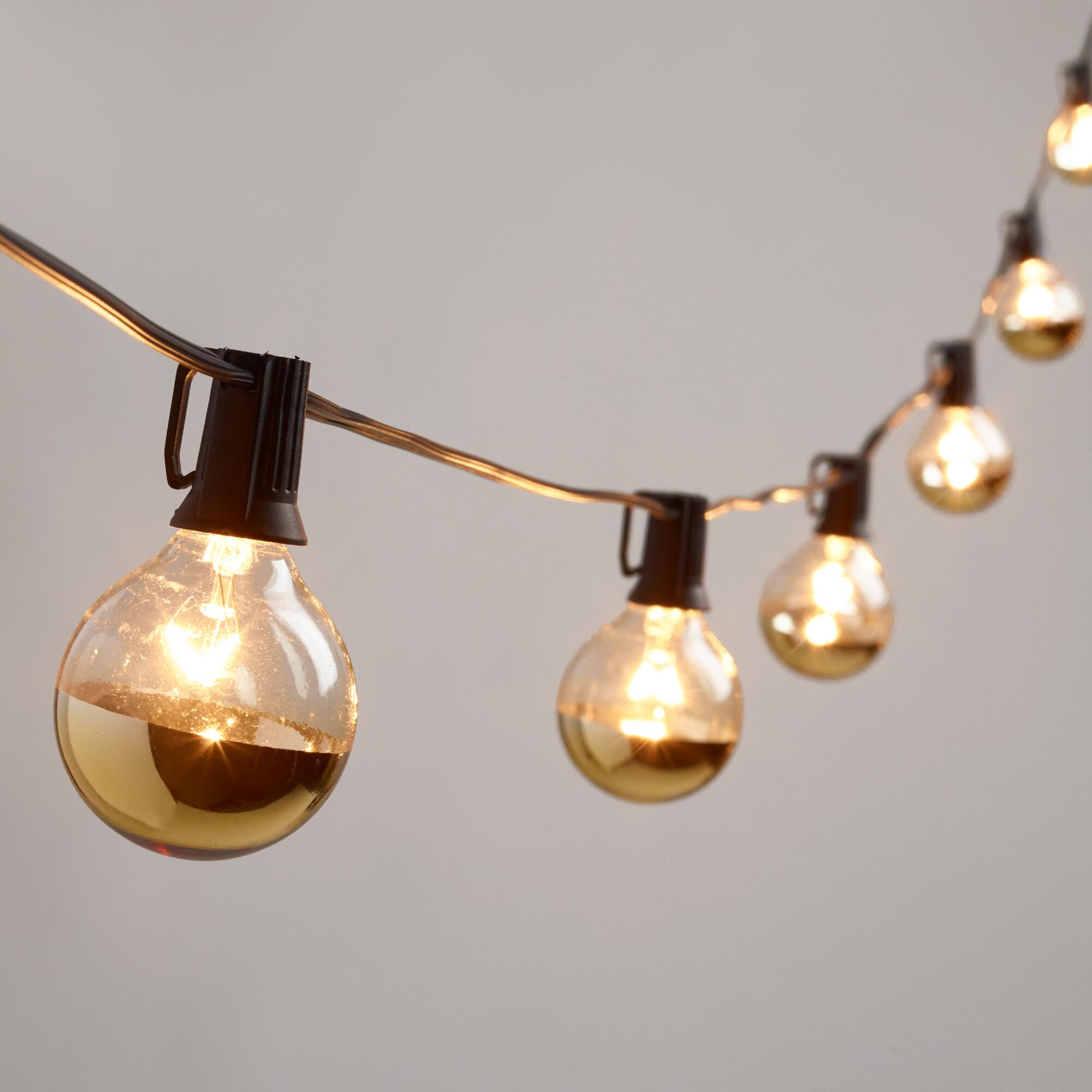 Glass String Lights Outdoor : Gold Dipped Glass Orb 20 Bulb String Lights World Market