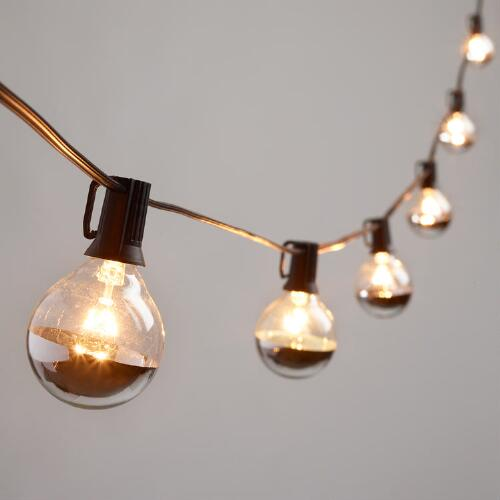 Silver Dipped Glass Orb 20 Bulb String Lights