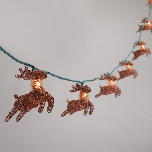 Rattan Reindeer 10 Bulb String Lights