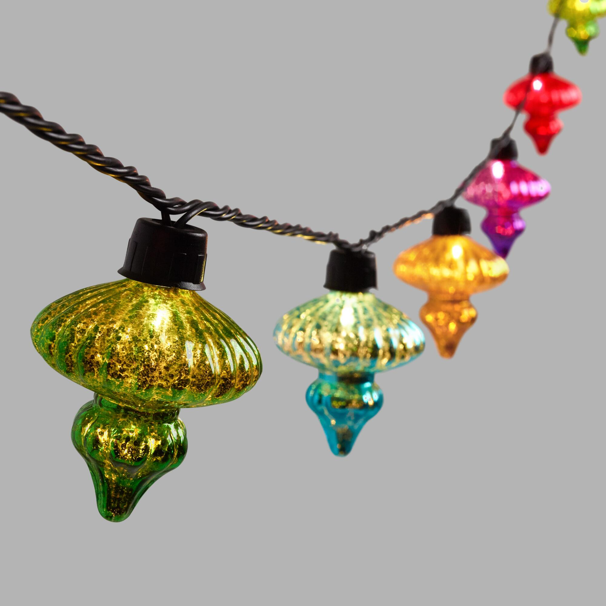 Multicolor String Lights : Multicolor Mercury Glass Finial 10 Bulb String Lights World Market