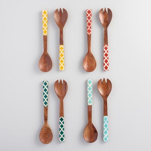 Wood Jali Salad Servers