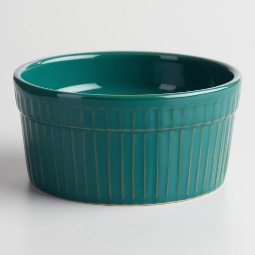 Jungle Green Ceramic Souffle Ramekins Set of 12