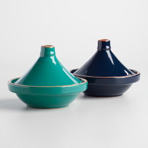 Mini Navy and Teal Terracotta Tagines Set of 2