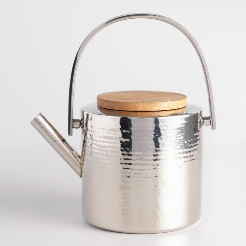 Hammered Stainless Steel Teapot with Wood Lid