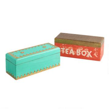 Antique Painted Finish Wood Tea Boxes Set of 2