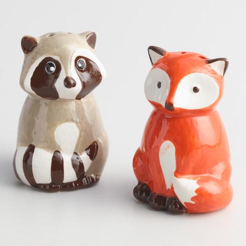 Fox and Raccoon Ceramic Salt and Pepper Shaker Set