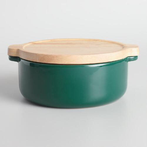Small Jungle Green Ceramic Baker with Wood Trivet Lid