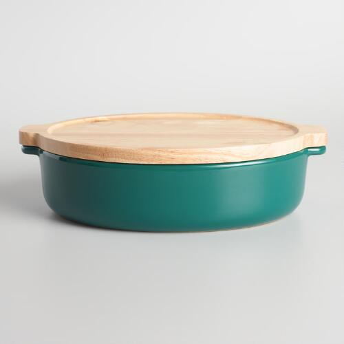 Large Jungle Green Ceramic Baker with Wood Trivet Lid