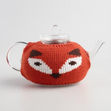 Fox Cozy Glass Infuser Teapot
