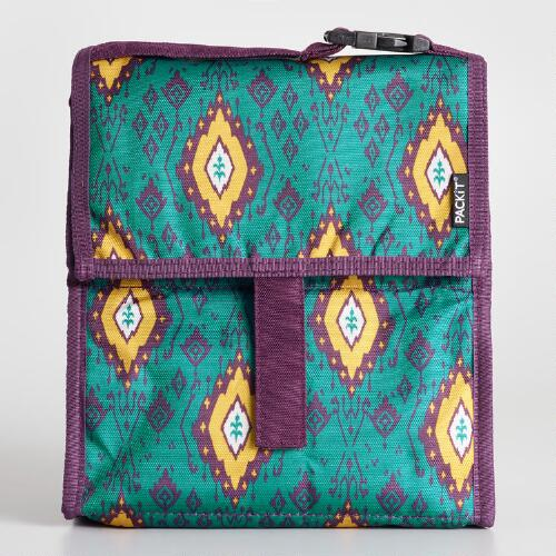 Teal Ikat PackIt Freezable Lunch Bag