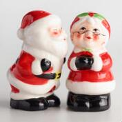 Santa and Mrs. Claus Ceramic Salt and Pepper Shaker Set