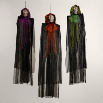 Cloaked Hanging Shimmer Skeletons Set of 3