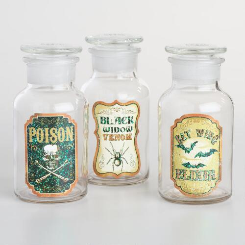 Glass Halloween Apothecary Bottles Set of 3