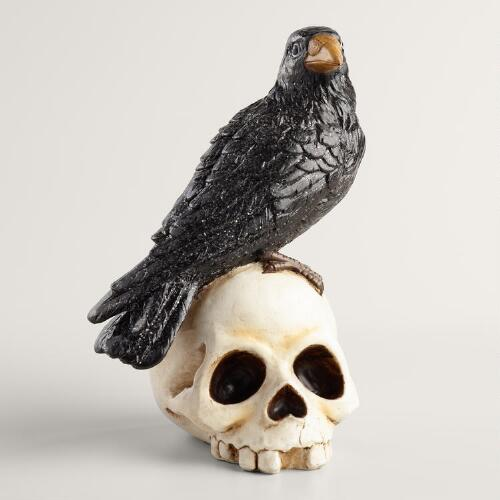 Raven on Skull Figurine