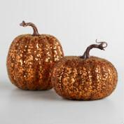 Glittered Pumpkins Set of 2
