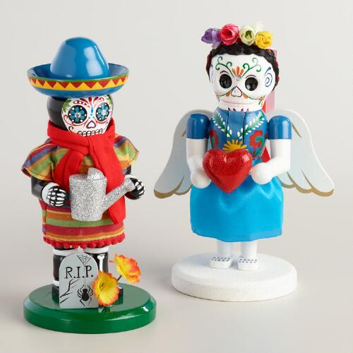 "7"" Wood Dia de los Muertos Nutcrackers Set of 2"