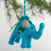 Embroidered Felt Elephant Ornaments Set of 3