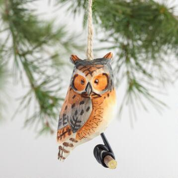 Wood Owl on Perch Ornaments Set of 4