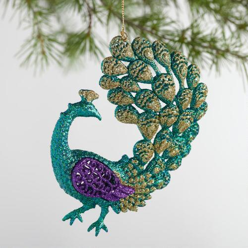 Glitter Peacock Ornaments Set of 4