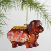 Glass Dachshund  Hotdog Ornament