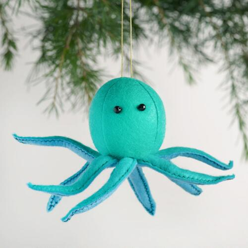 Felt Octopus Ornaments Set of 3