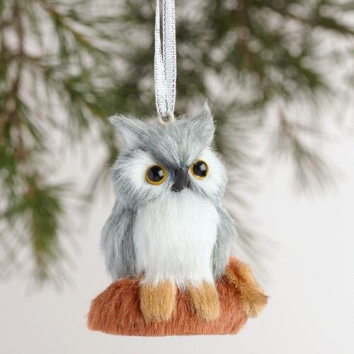 Fabric Owl on Log Ornaments Set of 2