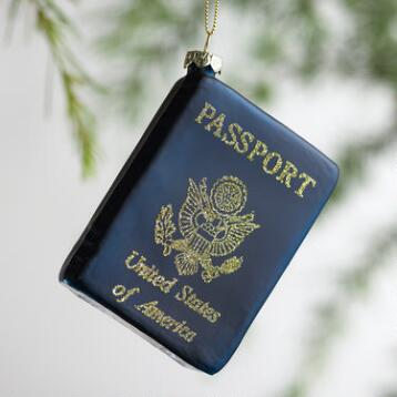 Glass Passport  Ornament