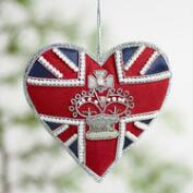 Beaded Fabric British Heart Ornaments Set of 2
