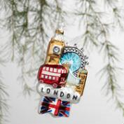 Glass London View  Ornament