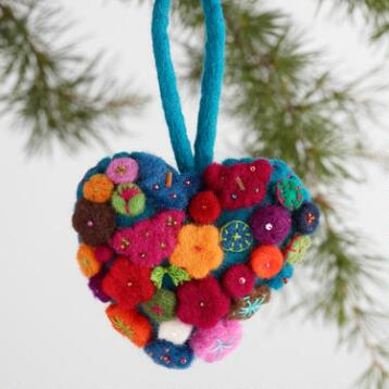 Felt Heart with Flowers Ornaments Set of 3