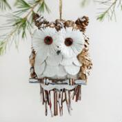 Frosty Pinecone Owl Ornament