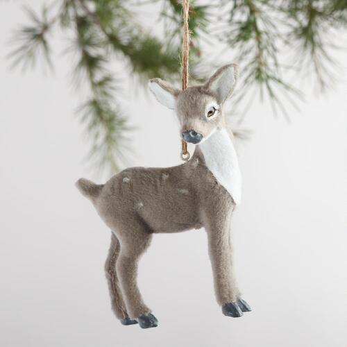 Fabric Deer Ornaments Set of 4
