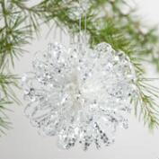 Glittered Flower Ball Ornament