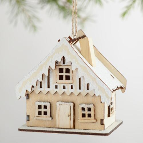 Laser Cut Wood House Ornaments with Snow Set of 3