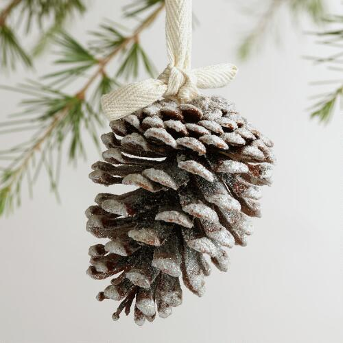 Pinecone with Frosty Glitter Ornament