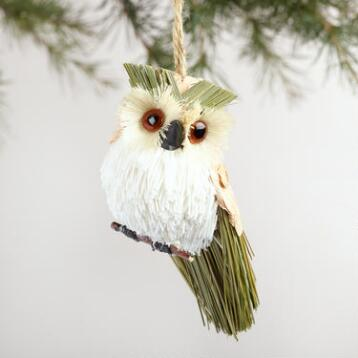 Natural Fiber Owl Ornaments Set of 3
