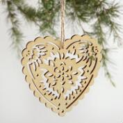 Laser Cut Wood Heart Ornaments Set of 3