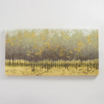 Golden Trees III in Taupe by James Wiens