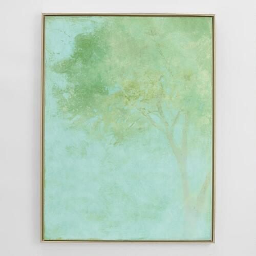 Green Tree by Matina Theodosiou with Gold Float Frame