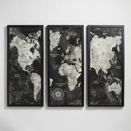 Triptych Map by Xander Blue with Frame