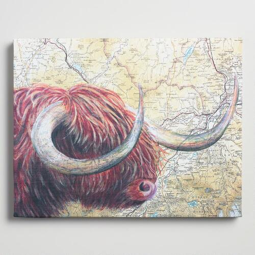 Highland Bull Map by Jane Wilson