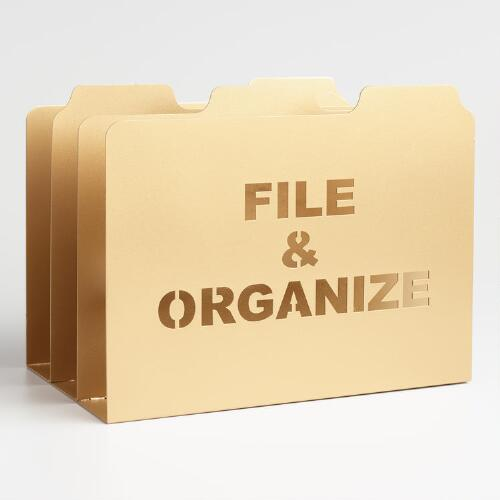 Gold Metal Lucas File Storage