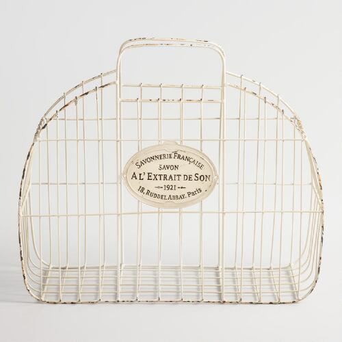 White Wire Marcie Tote Basket