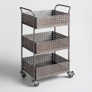 Zinc 3 Shelf Alexandria Rolling Cart