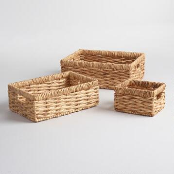 Natural Hyacinth Rectangular Nora Baskets