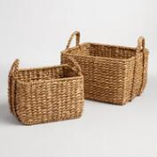 Natural Hyacinth Rectangular Molly Baskets