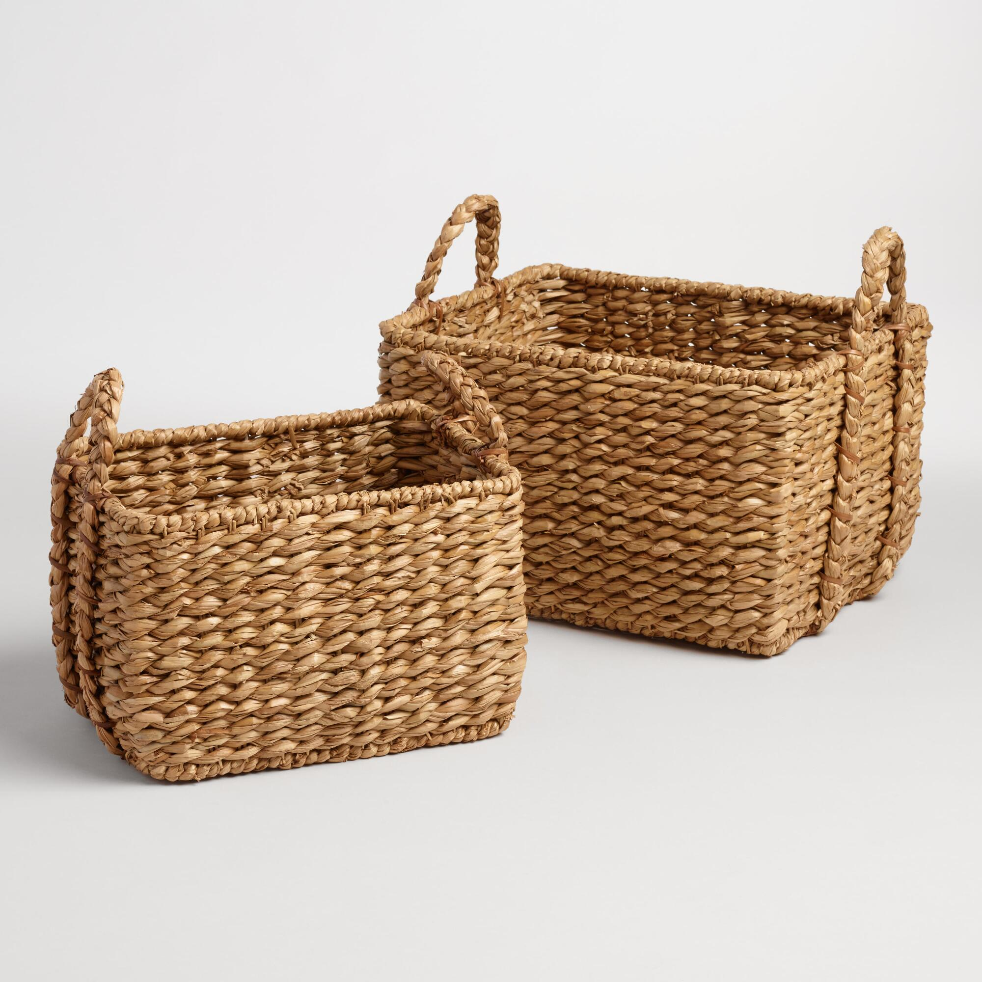 How To Weave A Mini Basket : Natural hyacinth rectangular molly baskets world market
