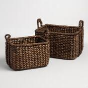 Espresso Hyacinth Rectangular Molly Baskets