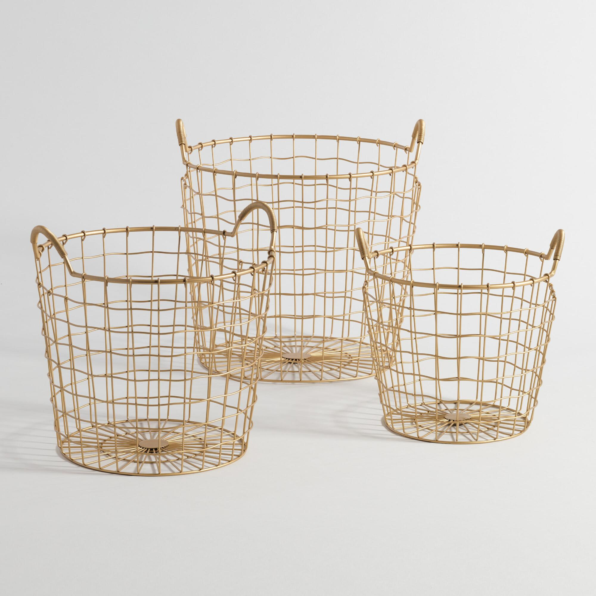 Metal basket can be wiped with a damp rag mDesign Farmhouse Decor Metal Wire Food Organizer Storage Bin Baskets with Handles for Kitchen Cabinets, Pantry, Bathroom, Laundry Room, Closets, Garage - 16 x 9 x 6 in. - Bronze. by mDesign. $ $ 16 99 Prime. FREE Shipping on eligible orders.