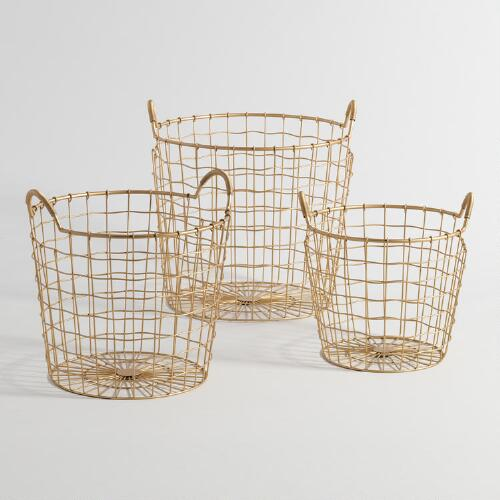 Gold Wire Antonia Baskets